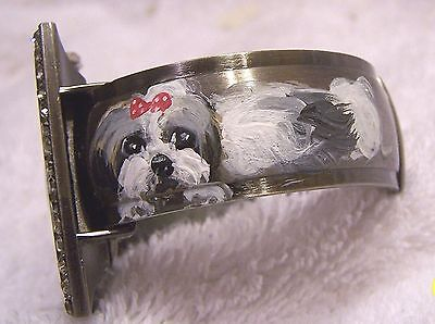 hand painted Shih Tzu on shell inlay    cuff watch