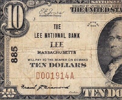 Nice *SCARCE* 1929 $10 LEE, MA National Banknote! FREE SHIPPING! D001914A