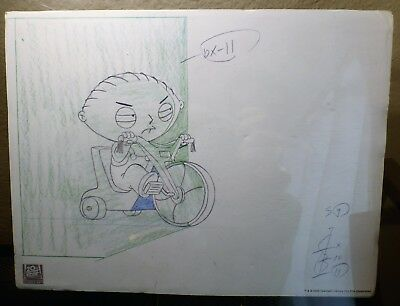 "12 x 9 FAMILY GUY EXCLUSIVE EDITION ""STEWIE ON TRICYCLE"" LITHO PRINT 2005 w/ COA"