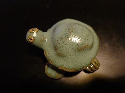 Delightful Vintage Pottery Turtle Hand Painted Miniature 2.25  Statue Excellent