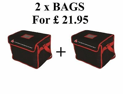 """2 x Heavy Duty Hot Food Delivery Bag Size12""""x10""""x10"""" for Kebab Indian Chinese de"""
