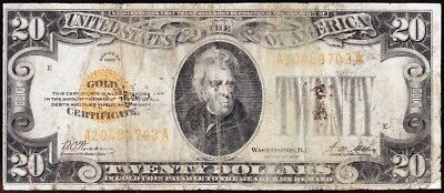 Affordable low grade 1928 $20 GOLD CERTIFICATE! FREE SHIPPING! A10489703A
