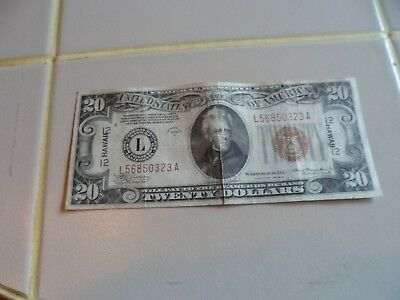 1934 A $20 Silver Certificate Hawaii Note
