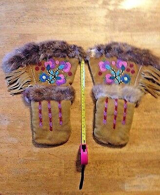 Native American Beaded Leather Gauntlet Mittens