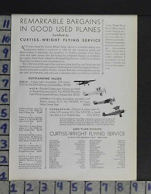 1930 Aviation Aircraft Plane Pilot Curtiss Wright Flying Service Ad Zo46