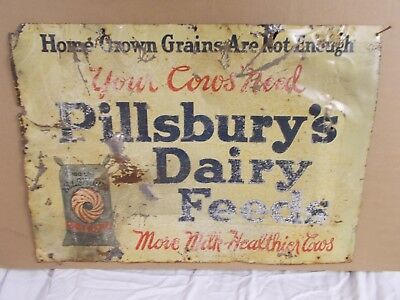 Vintage Tin Pillsbury's Dairy Feeds Sign