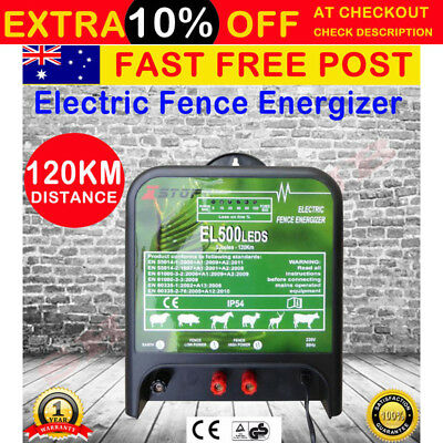 NEW 120km Electric Fence Energizer Enegiser Charger 5J 240V Poly Wire Tape Posts