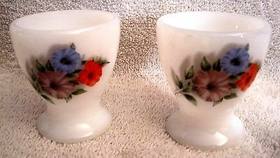 Beautiful - Vintage - Set Of Two French Milk Glass - Floral Egg Cups - Rare!