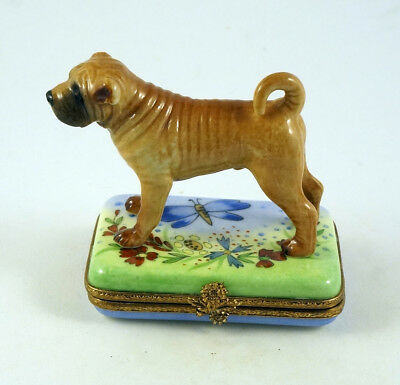 NEW HANDPAINTED FRENCH LIMOGES TRINKET BOX SHAR PEI DOG Puppy IN COLORFUL GARDEN