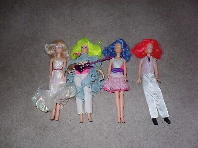 Lot of 4 Vintage 1980's Jem and the Holograms Misfits Dolls w/ Clothes Accessori