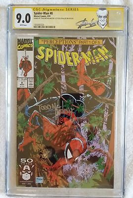 Spider-Man #8 CGC 9.0 SS 2X SIGNED TODD MCFARLANE STAN LEE Wolverine Appearance