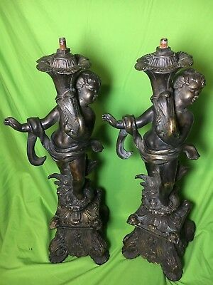 """Rare SET of two antique/vintage  Lamp Base victorian french Cherub Ornate 22"""" H"""
