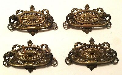 "Lot of 4 Vintage 4 3/4"" long Victorian Drawer Pulls Handles 3"" Ornate Brass"