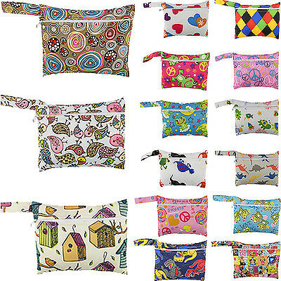 Cute Baby Nappy Reusable Washable Wet Dry Cloth Zipper Waterproof Diaper Bag HG