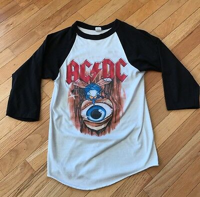 Vintage AC/DC Fly On The Wall 1985 Tour T-Shirt White Black Size Small ACDC Rare