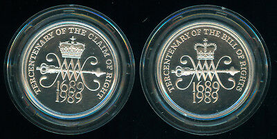 1989 Great Britain Claim & Bill Of Rights Silver Proof Set