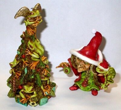 Harmony Kingdom Artist Neil Eyre Designs Christmas Tree of Frogs Angel Halo LE