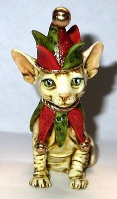 Harmony Kingdom Artist Neil Eyre Designs Christmas elf Sphynx cat kitten le50