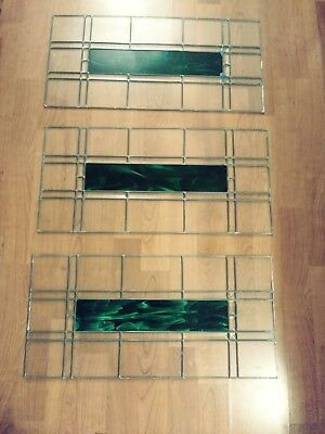 "Antique Stained Leaded Glass, 3 matching 15 1/2"" wide by 32"" tall, green center"