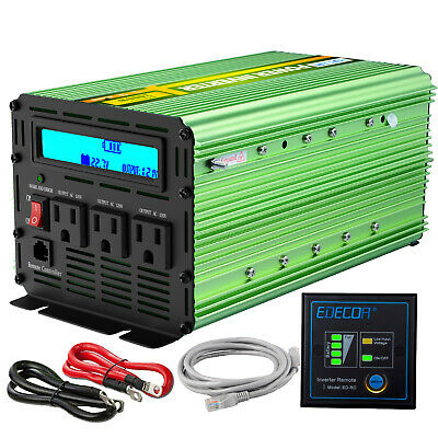 EDECOA Power Inverter 2000W 4000W 12V dc to 110V 120V ac LCD Cable handle car RV
