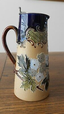 Royal Doulton Lambeth Stoneware Jug with Antique Plated Lid