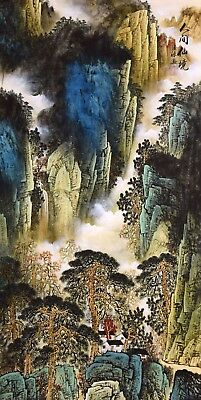 ORIGINAL ASIAN CHINESE FAMOUS SANSUI WATERCOLOR PAINTING-Antique Mountains&tree
