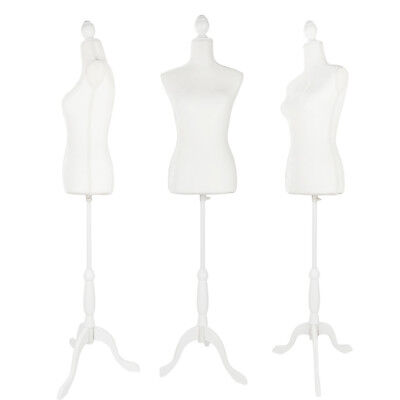 Female Mannequin Torso Dress Clothing Fiberglass Display White Tripod Stand Whit