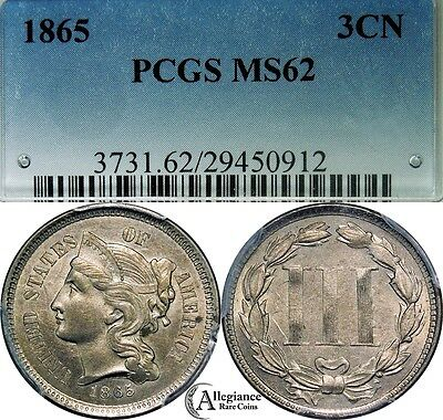 1865 Three Cent Nickel PCGS MS62 rare classic old type coin, choice FS-305