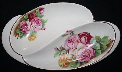 Rare ROYAL WINTON Rose Transfer Double SECTIONED PLATE Roses Vintage 494