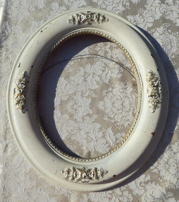 Vintage Antique White 8 x 10 Oval Wood / Gesso Picture Frame