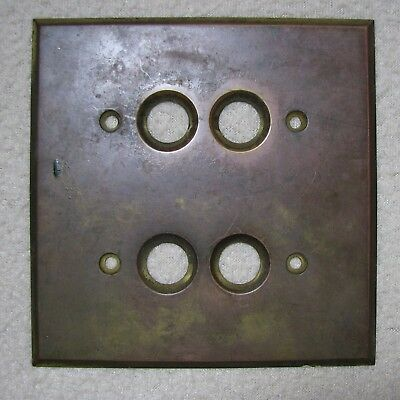 Antique Perkins Brass Electric Double Push Button Switch Plate Cover Ptd 1894