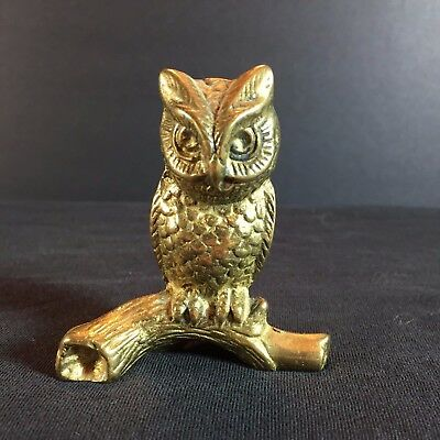 "Vintage Antique Brass Owl Figurine on a Branch - Sitting 2.75"" Bird"