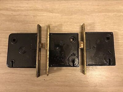 3 Antique Y&T Yale & Towne Entry Exterior Mortise Door Lockset