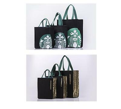 New Starbucks BLACK SIZE: LARGE CANVAS BAG TOTE HANDBAG Lunch Bag Recommend