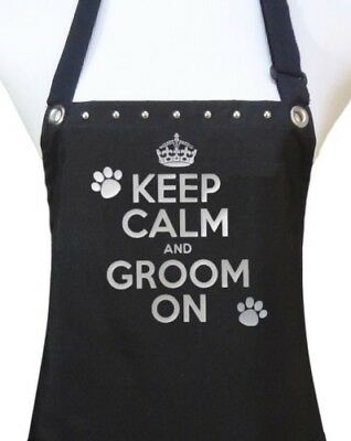 "Dog Grooming Apron ""KEEP CALM GROOM ON"" waterproof salon pet groomer dog wash"