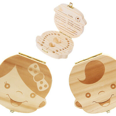 1 Pc Boy;s Girl's Tooth Box Organizer Kids Baby Save Milk Teeth Wood Storage Box