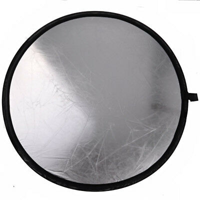 Foldable 80cm 2in1 Mulit Collapsible Disc Photography Light Reflector Silver