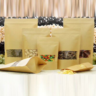 50-100 Kraft Paper Bag Pouch Stand Up Coffee Food Zip Lock Packaging With Window