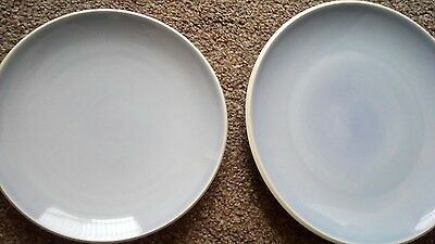 "Denby Intro Edge Blue/Grey   Dinner & Salad Plates  2 ---- 1 x 11""  and 1 x  9"""