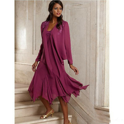 VINTAGE ELEGANT CHIFFON Plus Size Mother Of The Bride Dresses With Jacket  A156