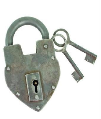 Antique Heart Padlock with Two Skeleton Keys Functional and Decorative GENUINE