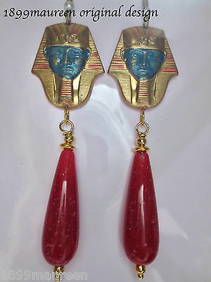 Egyptian Revival Art Deco earrings vintage drop Art Nouveau 1920s 1930s LARGE