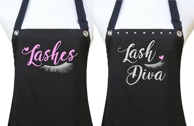 "Lash Extensions Apron ""LASHES"" specialist salon waterproof black silver pink"