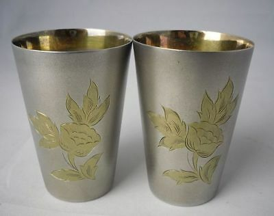 Pair of Vintage Floral Russian Vodka Cups probably Silver Plate