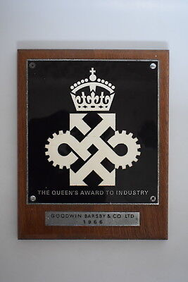 c1966 Queen's Award to Industry Sign / Plaque old vintage industrial royal