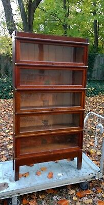 Globe Wernicke Oak Stacking Barrister Bookcase 5 sections