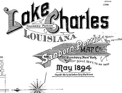 Lake Charles, Louisiana~Sanborn Map©  with 19 maps made in 1894 put on a CD