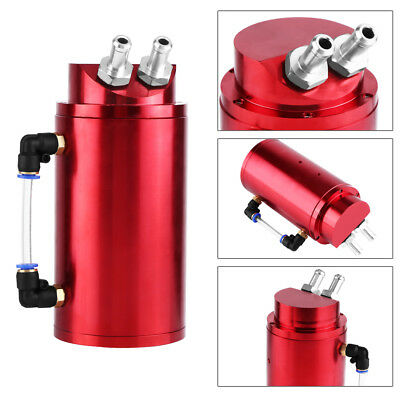 New Universal Car Oil Catch Tank Breather Can Reservoir Red Fittings for 10&15mm