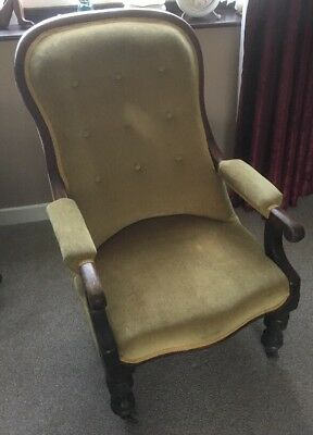 Edwardian Mahogany Open Arm Chair With Shaped Back.