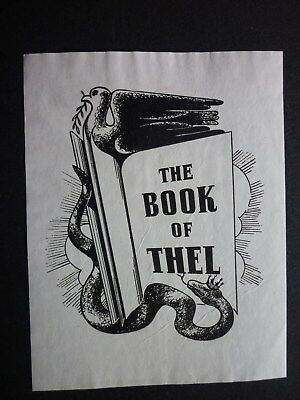 EX LIBRIS  VINTAGE BOOKPLATE  THE BOOK OF THEL  UNSIGNED c.1930s